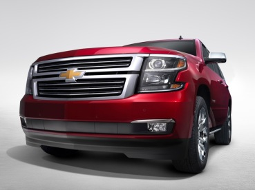 2015 Chevrolet Tahoe in Crystal Claret grill view from New York Reveal